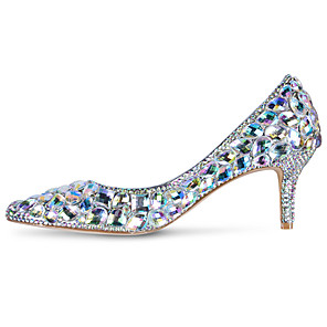 cheap Wedding Shoes-Women's Wedding Shoes Glitter Crystal Sequined Jeweled Stiletto Heel Pointed Toe Crystal / Sparkling Glitter PU Sweet / Minimalism Spring & Summer / Fall & Winter Purple / Red / Gold