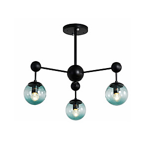 cheap Globe Design-3-Light Sputnik Semi Flush Mount Lights Ambient Light Painted Finishes Metal Ceiling Lamp 3 Lights Chandelier Globe Glass Shade Simple Pendant Lighting Black