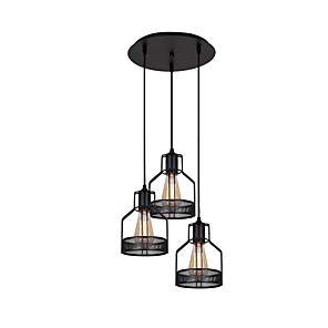cheap Cluster Design-3-Light Chandeliers 3 Lights Pendant Light Round Adjustable Industrial Iron Pendant Light Fixtures Island Hanging Lighting Ceiling Light Black