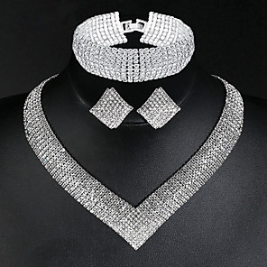 cheap Wedding Wraps-Women's Necklace Earrings Bracelet Tennis Chain Stylish Luxury Classic European Elegant Imitation Diamond Earrings Jewelry Silver For Wedding Party Engagement Daily Promise 1 set