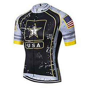 cheap Cycling Jerseys-21Grams American / USA National Flag Men's Short Sleeve Cycling Jersey - Black / White Bike Jersey Top Breathable Moisture Wicking Quick Dry Sports Polyester Elastane Terylene Mountain Bike MTB Road