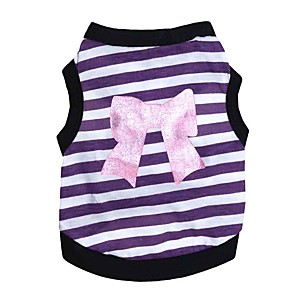 cheap Dog Clothes-Dogs Vest Dog Clothes Purple Pink Costume Dalmatian Corgi Beagle Cotton Stripes Bowknot Sweet Style Casual / Daily XS S M L