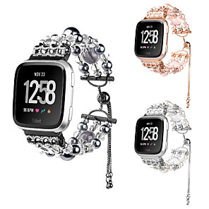cheap Smartwatch Bands-For Fitbit Versa / Versa Lite Handmade Faux Pearls Jewels Crystal Agate Replacement Stainless Steel Strap Wristband
