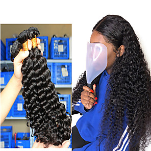 "cheap Human Hair Weaves-3 Bundles Hair Weaves Brazilian Hair Deep Curly Human Hair Extensions Human Hair 300 g One Pack Solution 8""-26"" Natural"