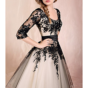 cheap Bridesmaid Dresses-Ball Gown White Black Engagement Prom Dress Scoop Neck Half Sleeve Ankle Length Lace Tulle with Appliques 2020