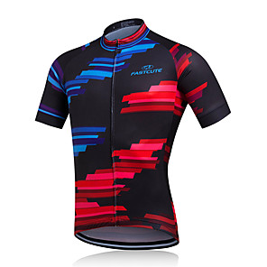 cheap Cycling Jerseys-FUALRNY® Men's Short Sleeve Cycling Jersey Red+Blue Bike Jersey Top Mountain Bike MTB Road Bike Cycling Breathable Quick Dry Moisture Wicking Sports Clothing Apparel / Stretchy