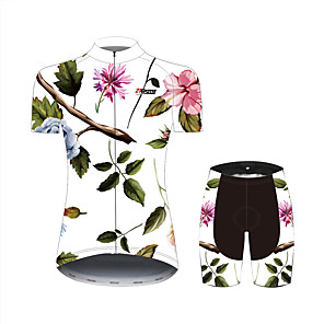 cheap Cycling Jersey & Shorts / Pants Sets-21Grams Floral Botanical Hawaii Women's Short Sleeve Cycling Jersey with Shorts - Black / White Bike Clothing Suit Breathable Moisture Wicking Quick Dry Sports 100% Polyester Mountain Bike MTB