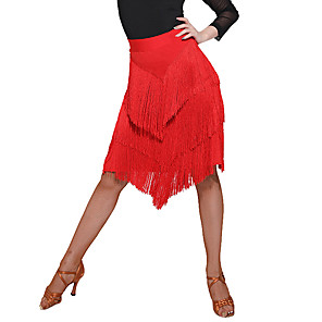 cheap Latin Dancewear-Latin Dance Skirts Tassel Split Women's Training Performance Natural Spandex Chiffon Polyster