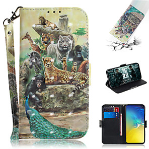 cheap Samsung Case-Case For Samsung Galaxy S7 edge / S7 / Galaxy S10 Wallet / Card Holder / with Stand Full Body Cases Animal / 3D Cartoon PU Leather