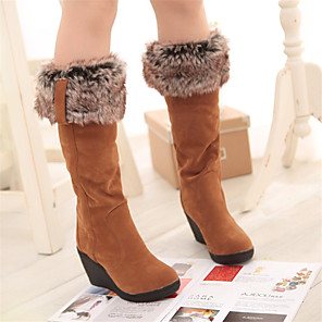 cheap Women's Boots-Women's Boots Knee High Boots Snow Boots Fall / Winter Wedge Heel Round Toe Casual Daily Pom-pom Solid Colored Synthetics Knee High Boots Walking Shoes Yellow / Black / Beige