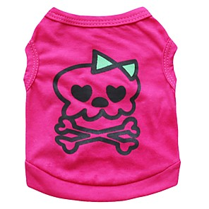 cheap Dog Clothes-Dogs Shirt / T-Shirt Vest Dog Clothes Fuchsia Costume Dalmatian Corgi Beagle Cotton Classic Skull Sweet Style Casual / Daily XS S M L