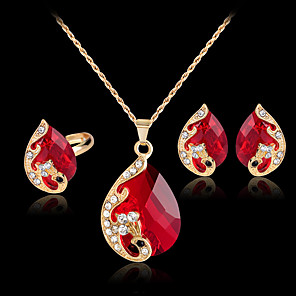 cheap Jewelry Sets-Women's Stud Earrings Pendant Necklace Ring Cut Out Peacock Stylish Classic Rhinestone Gold Plated Earrings Jewelry Green / Red / Blue For Daily Work 1 set