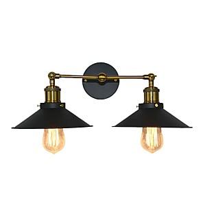 cheap Indoor Wall Lights-Simple Swing Arm Wall Lamp Retro Wall Light Fixtures Vanity Mirror Light Wall Lighting Metal Cone Shade Wall Lamps 2 Lights