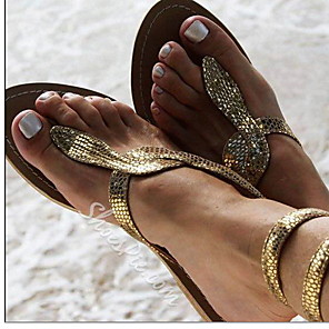 cheap Women's Sandals-Women's Sandals Boho / Beach Flat Sandals Summer Flat Heel Round Toe Daily Solid Colored PU Gold / Silver