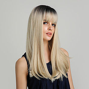 cheap Synthetic Trendy Wigs-Synthetic Wig kinky Straight Natural Straight Bob Asymmetrical Side Part Wig Black / Blonde Long Black / Gold Synthetic Hair 22 inch Women's Life Synthetic Adorable Black / Blonde HAIR CUBE
