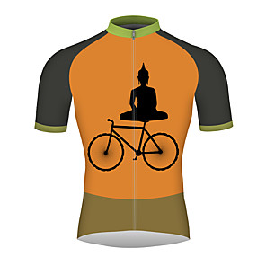 cheap Cycling Jerseys-21Grams Men's Short Sleeve Cycling Jersey Orange Bike Jersey Top Mountain Bike MTB Road Bike Cycling Breathable Quick Dry Reflective Strips Sports Clothing Apparel / Micro-elastic / Triathlon