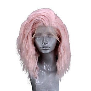 cheap Synthetic Lace Wigs-Synthetic Lace Front Wig Wavy Side Part Lace Front Wig Pink Short Pink Synthetic Hair 10-14 inch Women's Adjustable Heat Resistant Party Pink