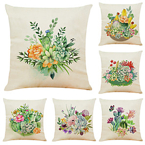 cheap Throw Pillow Covers-Set of 6 Cactus Succulents Linen Square Decorative Throw Pillow Cases Sofa Cushion Covers 18x18