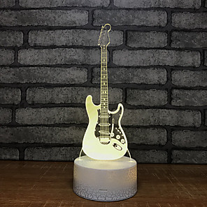 cheap 3D Night Lights-Guitar Fountain Light Night Seven Colors Touch Lamp 3d Visual Creative Small Gift 3d Luminaires Wholes
