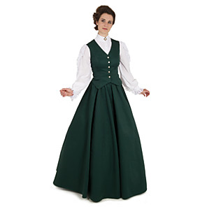 cheap Cell Phones-Duchess Cerridwen Goddess Victorian 1910s Edwardian Dress Party Costume Women's Feather Costume Green Vintage Cosplay Daily Wear Long Sleeve Floor Length Ball Gown Plus Size / Vest / Blouse / Vest