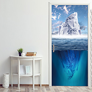 cheap Wall Stickers-Sea Glacier Door Stickers Decorative Waterproof Door Decal Decor
