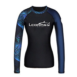 cheap Wetsuits, Diving Suits & Rash Guard Shirts-Women's Rash Guard Sun Shirt Swim Shirt UV Sun Protection Quick Dry Long Sleeve Swimming Surfing Water Sports Painting Patchwork Autumn / Fall Spring Summer / Stretchy