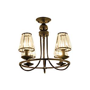 cheap Wall Sconces-4-Light American Rustic Crystal Chandeliers Black Indoor Deco Light Pendant Lamp 4 Lights Bedroom Living Room Hallway Ceiling Light Semi Flush Circle Shape