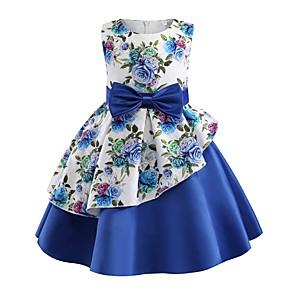 お買い得  女児 ドレス-子供 幼児 女の子 ベーシック かわいいスタイル 植物 フラワー リボン プリント ノースリーブ 膝丈 ドレス ブルー / コットン