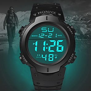 cheap Smartwatches-Men's Sport Watch Quartz Sporty Fashion Calendar / date / day Silicone Black Digital - White Black Blue One Year Battery Life / Stainless Steel / Noctilucent