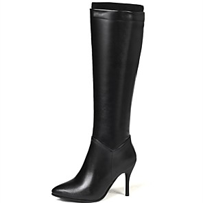 cheap Women's Boots-Women's Boots Knee High Boots Stiletto Heel Pointed Toe PU Knee High Boots Classic Fall & Winter Black / White / Party & Evening