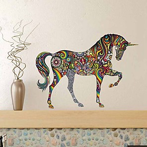 cheap Wall Stickers-Self-Adhesive Waterproof Living Room Sofa And Home Background Wall Sticker For Color Horse Wall Of Decorative Wall Stickers - Plane Wall Stickers Animals Kids Room / Nursery