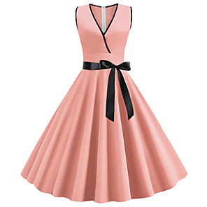 cheap Historical & Vintage Costumes-Women's A-Line Dress Midi Dress - Sleeveless Bow Summer V Neck 1950s Vintage Going out Black Purple Red Blushing Pink Green Light Blue S M L XL XXL