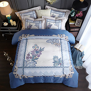 cheap Solid Duvet Covers-Duvet Cover Sets Floral / Botanical / Lines / Waves / Color Block Cotton Reactive Print / Printed / Quilted 4 PieceBedding Sets