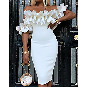 cheap Women's Sandals-Women's Sheath Dress Knee Length Dress - Sleeveless Ruched Spring Summer Off Shoulder Elegant Sexy Cocktail Party Going out Birthday Slim White S M L XL XXL 3XL