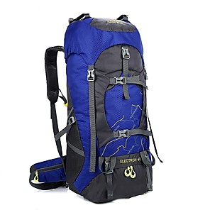 cheap Backpacks & Bags-60 L Hiking Backpack Rucksack Internal Frame Backpack Breathable Straps - Lightweight Rain Waterproof Wear Resistance High Capacity Outdoor Hiking Camping Travel Polyester Black Purple Fuchsia / Yes