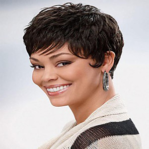 cheap Human Hair Capless Wigs-Human Hair Wig Short Natural Wave Natural Straight Pixie Cut With Bangs Simple Sexy Lady Hot Sale Capless Women's All Black#1B Chestnut Brown / African American Wig / For Black Women