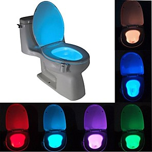 cheap Wall Clocks-BRELONG 1 pc  8-color Human Motion Sensor PIR Toilet Night Light