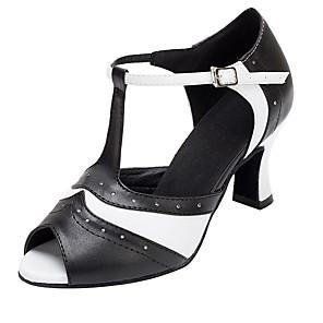 cheap Latin Shoes-Women's Dance Shoes Leather Latin Shoes Splicing Heel Cuban Heel Customizable Black-white / Performance / Practice