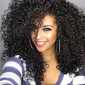 cheap Synthetic Trendy Wigs-Synthetic Wig Afro Afro Curly Rihanna Free Part Wig Medium Length Natural Black #1B Synthetic Hair 20 inch Women's Adjustable Heat Resistant Synthetic Black / For Black Women