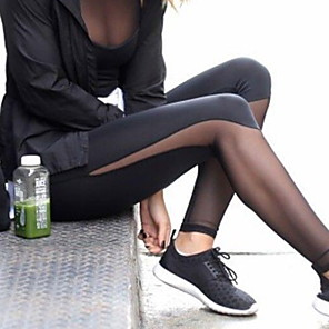 cheap Exercise, Fitness & Yoga Clothing-Women's High Waist Yoga Pants Leggings Butt Lift Breathable Quick Dry Black Mesh Gym Workout Running Fitness Sports Activewear Slim / Moisture Wicking