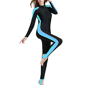 cheap Wetsuits, Diving Suits & Rash Guard Shirts-SBART Women's Rash Guard Dive Skin Suit Diving Suit SPF50 UV Sun Protection Quick Dry Long Sleeve Front Zip - Swimming Diving Surfing Patchwork