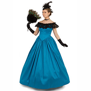 cheap Historical & Vintage Costumes-Duchess Victorian Ball Gown 1910s Edwardian Dress Party Costume Women's Cotton Costume Blue Vintage Cosplay Masquerade Floor Length Long Length Ball Gown Plus Size