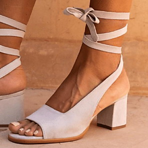 cheap Women's Sandals-Women's Sandals Heel Sandals Summer Chunky Heel Daily Buckle Solid Colored Suede Blue / Brown / Beige