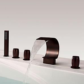 cheap Bathtub Faucets-Shower Faucet / Bathtub Faucet - Antique Oil-rubbed Bronze Widespread Brass Valve Bath Shower Mixer Taps