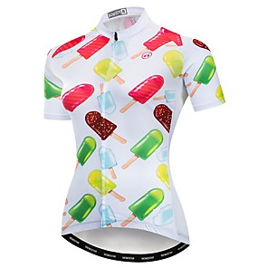 cheap Cycling Jerseys-21Grams Women's Short Sleeve Cycling Jersey Polyester Elastane White Novelty Bike Jersey Top Mountain Bike MTB Road Bike Cycling Breathable Quick Dry Moisture Wicking Sports Clothing Apparel
