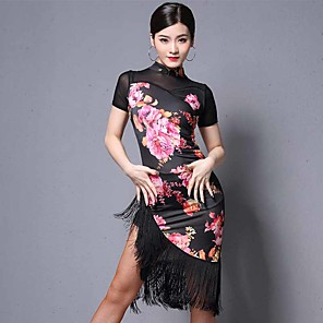 cheap Latin Dancewear-Latin Dance Dress Tassel Pattern / Print Women's Performance Short Sleeve Tulle Polyester
