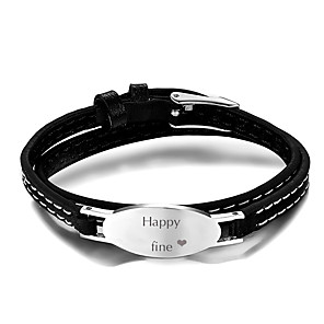 cheap Engraved Bracelets-Personalized Customized Bracelet Titanium Steel Classic Gift Festival 1pcs Silver
