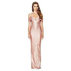 cheap Historical & Vintage Costumes-Diva Disco 1980s Dress Women's Sequins Costume Beige Vintage Cosplay Prom Sleeveless Floor Length Sheath / Column / Tuxedo / Tuxedo
