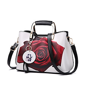 cheap Handbag & Totes-Women's Bags PU Leather Top Handle Bag Zipper for Daily / Office & Career Maroon / White / Black / Fall & Winter