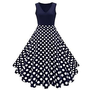 cheap Historical & Vintage Costumes-Floral Vintage Dress Women's Costume White / Blue / Navy Blue Vintage Cosplay Street Plus Size Sleeveless Midi A-Line Plus Size